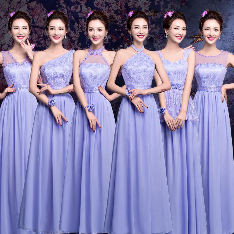 2016 Summer New Group Bridesmaid Bride Purple Wedding Banquet Dress Long Section Sisters