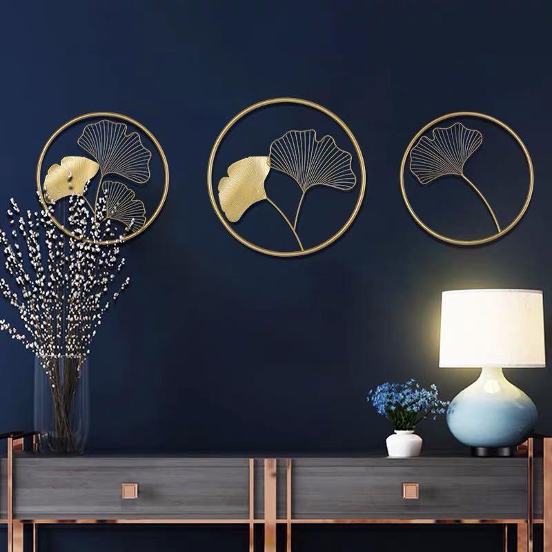 北欧轻奢金色铁艺银杏叶壁挂客厅背景墙玄关卧室墙面墙壁软装饰品