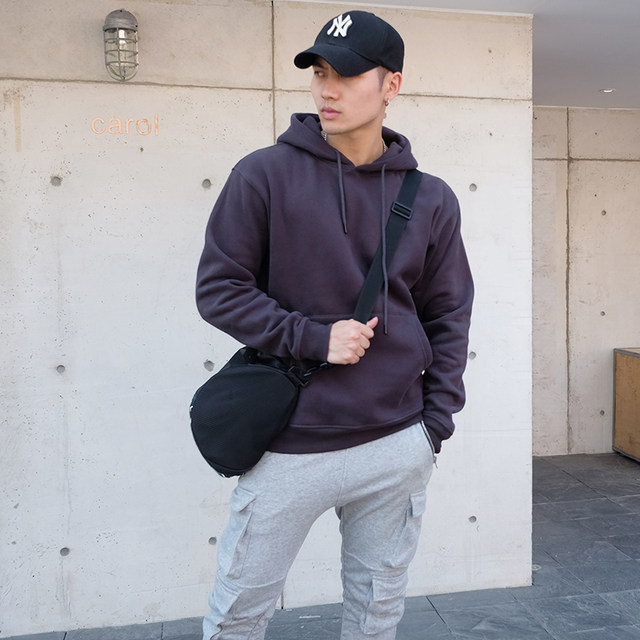 Basketball sweater men's trend autumn winter new sports fitness leisure loose pullover jacket plus velvet thickening