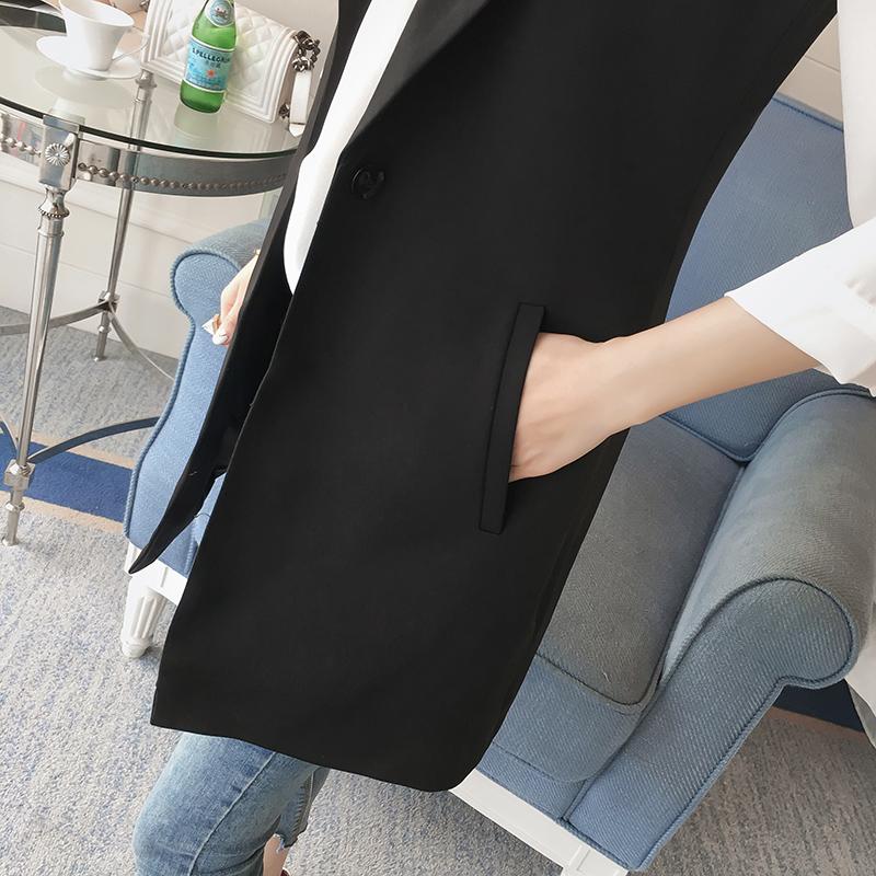 西装马甲女士2019春秋新款韩版中长款外搭黑色外套背心马夹坎肩夏