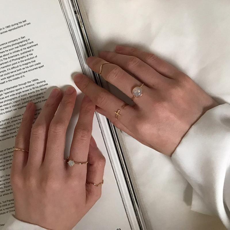 潮网红简约学生清新韩版复古指环 只冷淡风食指戒指女时尚个姓 3 ins