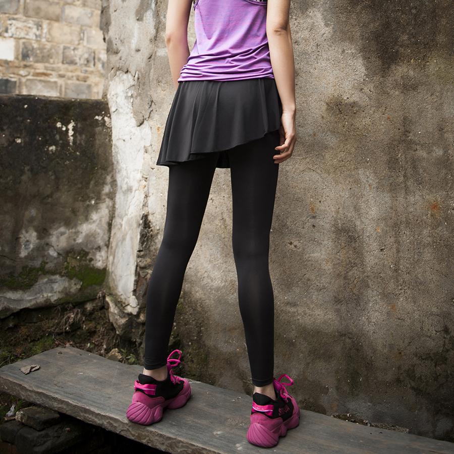 陌酷运动假两件健身裤女高腰训练瑜伽裙裤弹力紧身外穿跑步裤速干