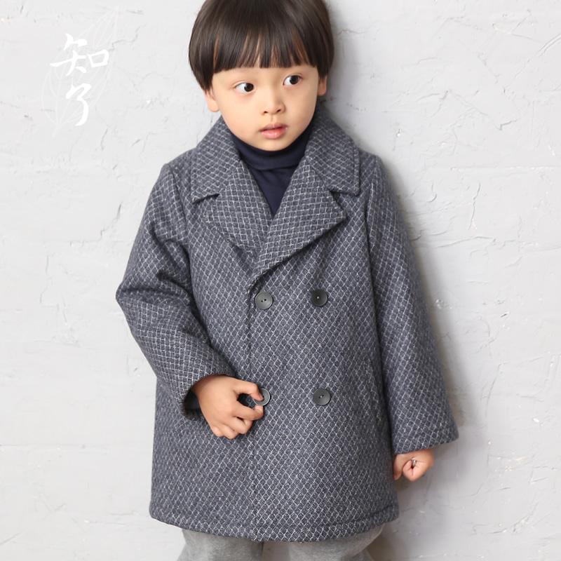 知了童装 男童双排扣羊毛呢大衣秋冬款风衣加厚外套 K1259