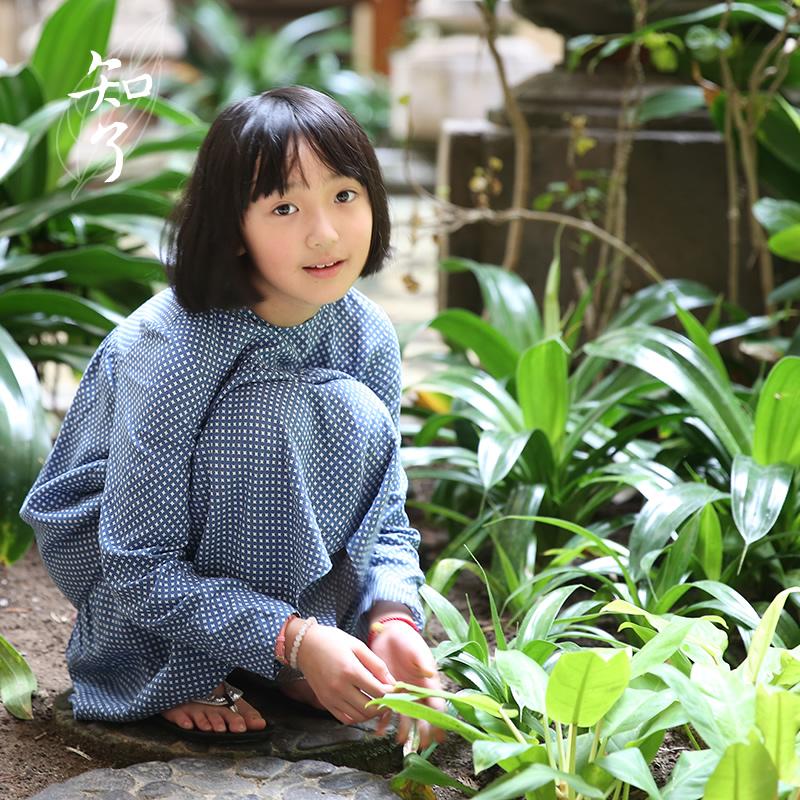 知了童装 2019夏装新款女童中大童中式文艺亚麻长袖连衣裙 K1133