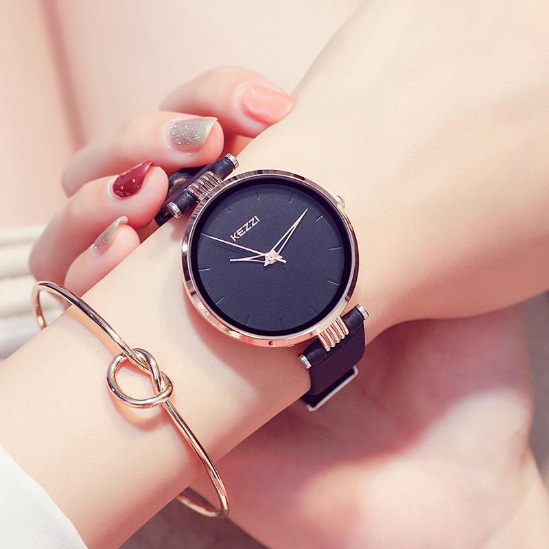 学生手表简约时尚女士腕表包邮大表盘防水皮带石英女表 kezzi 珂紫