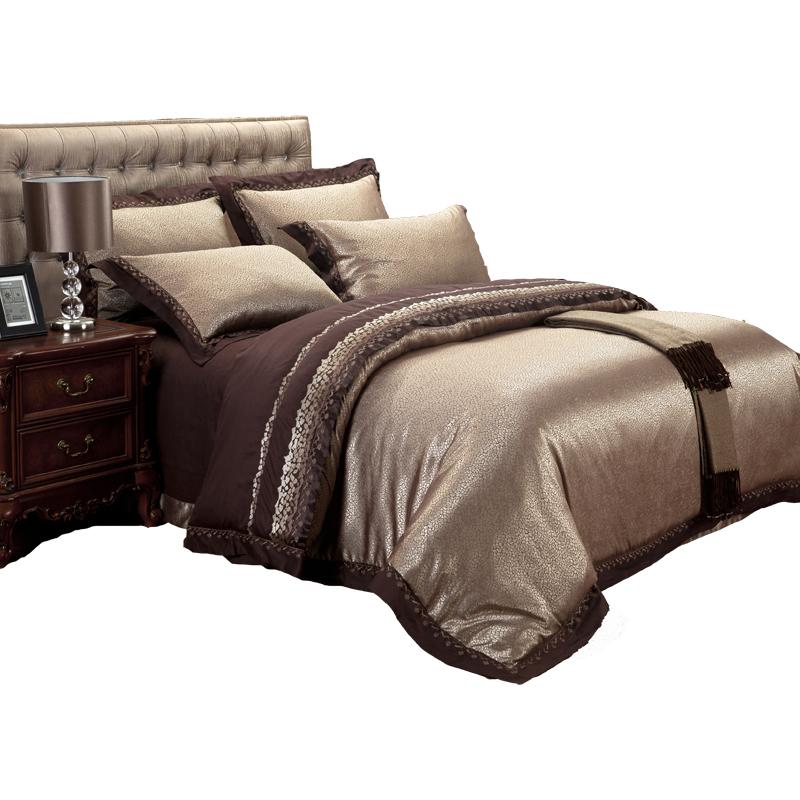 欧式刺绣贡缎提花1.8/2.0m床上四件套全棉纯棉被套床单六件套