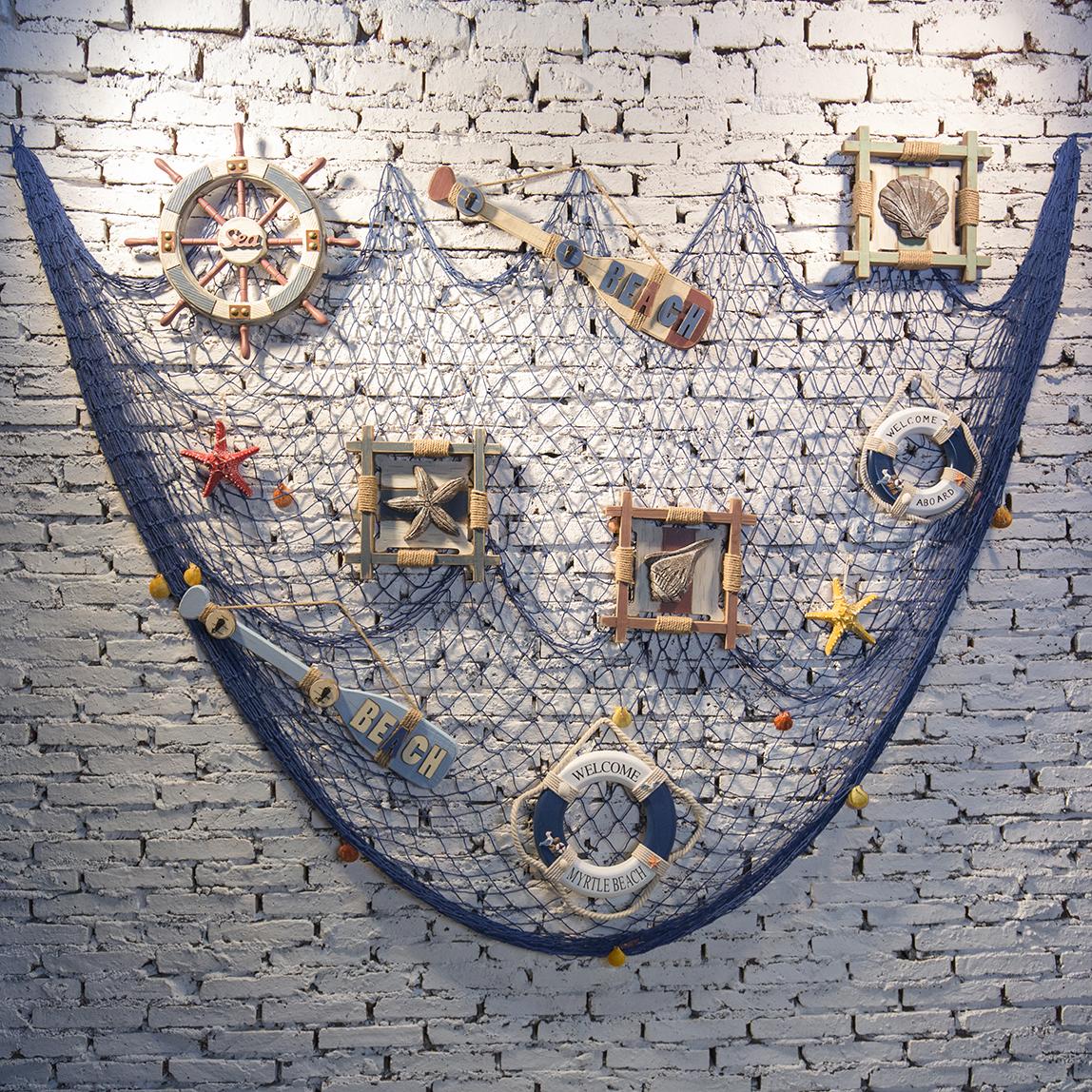 地中海漁網海洋裝飾品客廳創意魚網壁飾酒吧咖啡廳背景牆海洋掛件