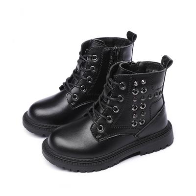 儿童马丁靴男童靴子2019秋冬季新款英伦风短靴皮鞋大童加绒女童鞋