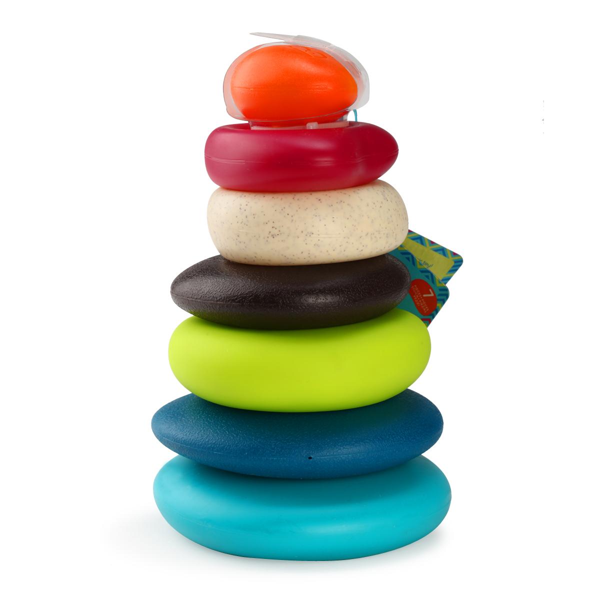 B.toys婴儿叠叠乐益智玩具6个月彩虹圈宝宝七彩叠叠杯+软积木套装