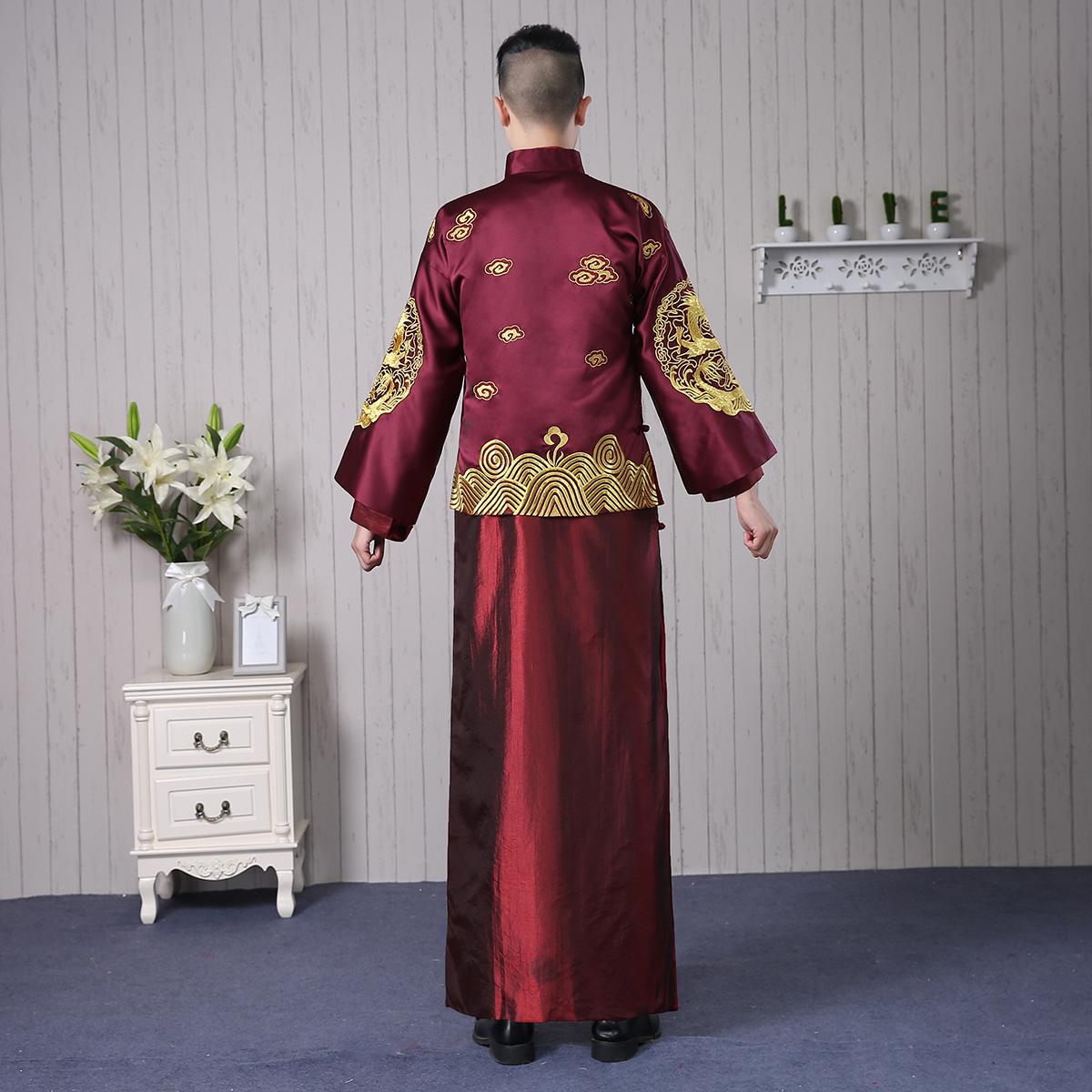 新郎秀禾服男士龙凤褂中式结婚礼服敬酒绣和服秋冬新款古唐装嫁衣