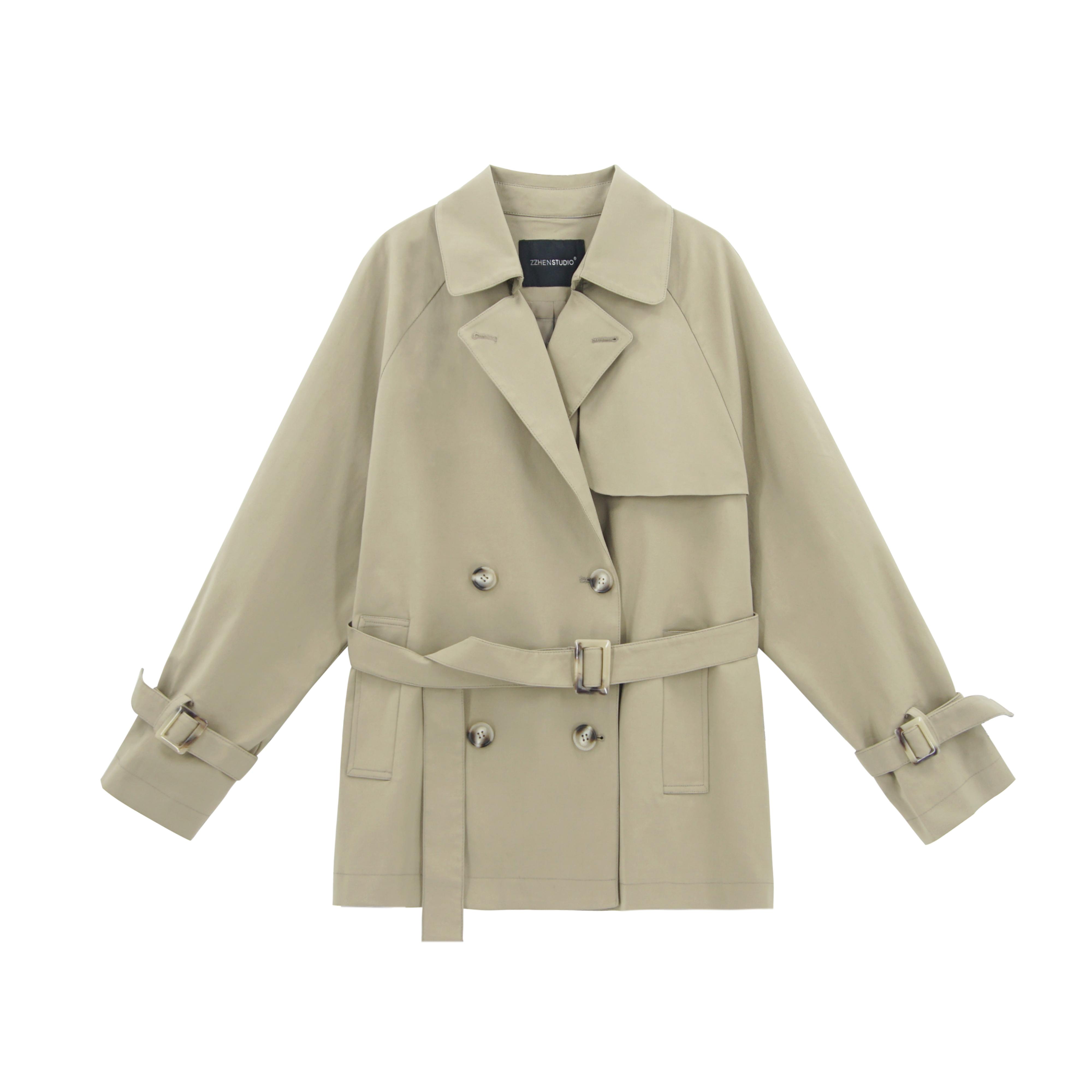 珍珍家韩版气质短风衣女秋 新款小个子英伦风收腰宽松洋气外套  2020