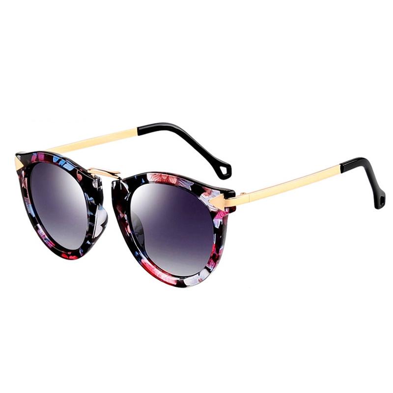 TANS三氏女士偏光太阳镜2020新款复古墨镜个性时尚圆脸花琉璃眼镜