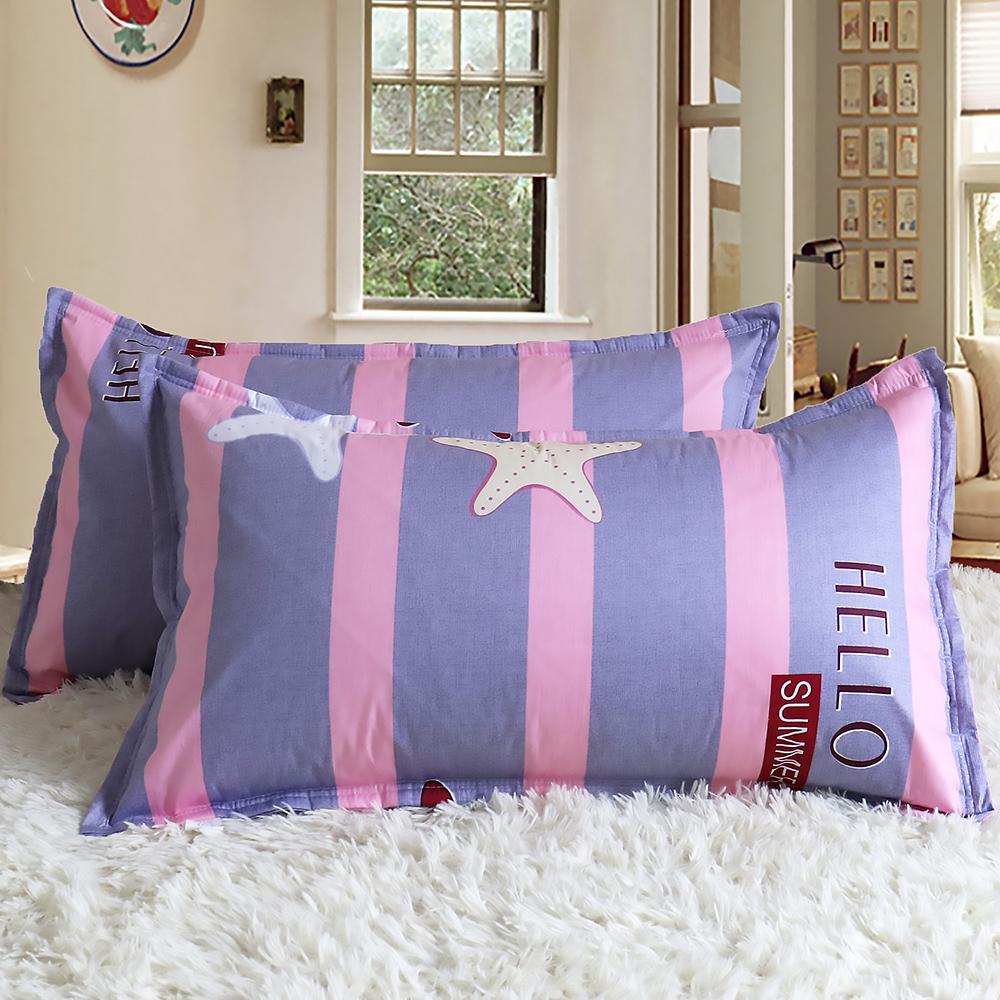 包邮全棉枕套 纯棉48 74单人枕头套枕巾加厚枕芯套一对装