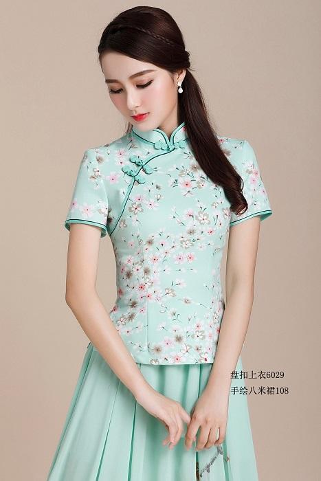 [淘寶網] 2018春裝女士新款中式民族風手工盤扣短袖旗袍上衣少女旗袍套裝