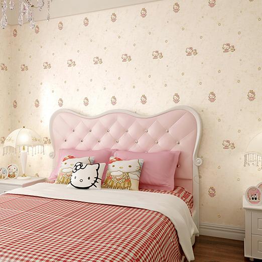 重庆实体店 粉色hellokitty猫咪女儿童房刺绣无缝墙布卧室壁布