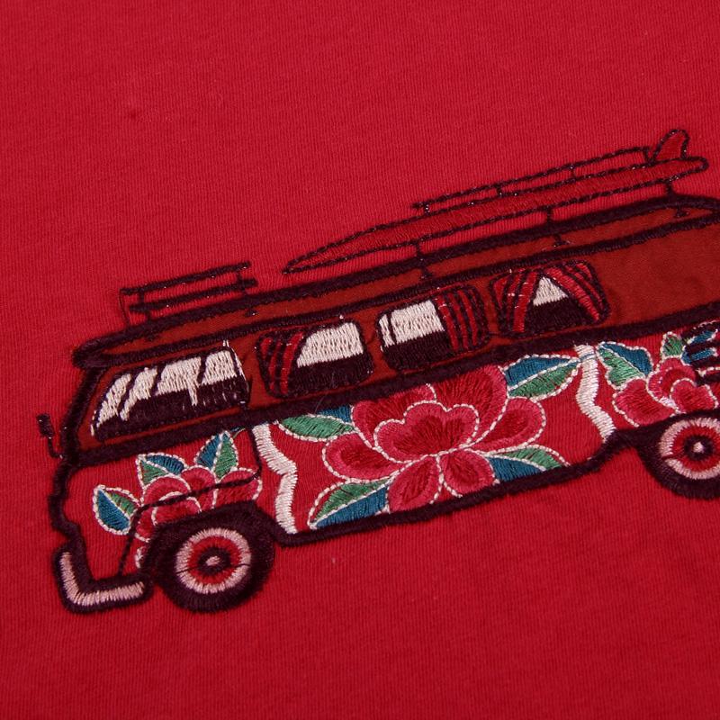 裂帛女装短袖t恤女修身2019新款潮流红色打底衫圆领半袖绣花上衣