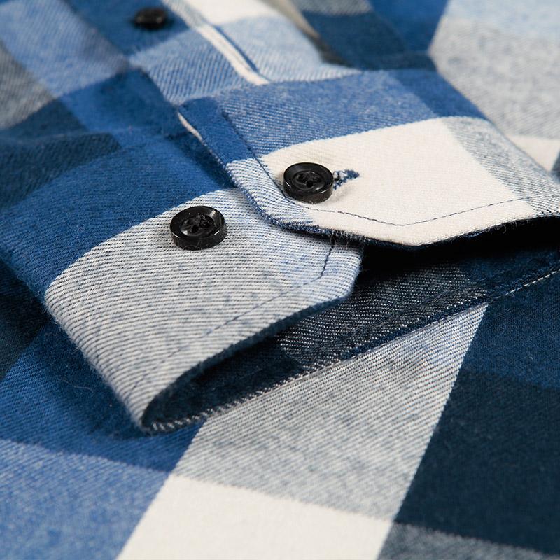 朗蒙秋季纯棉磨毛格子长袖衬衫男修身 韩版时尚休闲格子衬衣男装