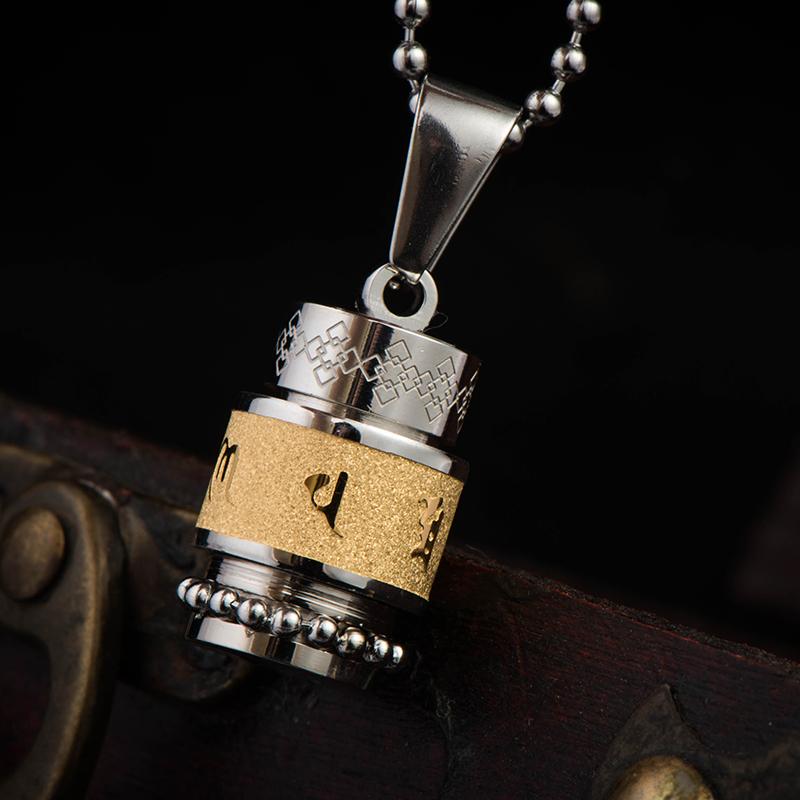楞严咒吊坠女钛钢护身符项链男开光六字真言挂件经文转运项坠饰品