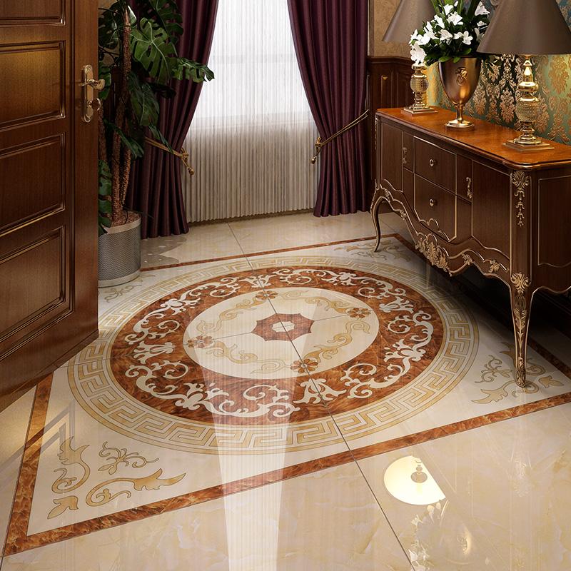 佰瑞纳玄关地砖板砖欧式客厅瓷砖拼花仿水刀抛晶砖无限拼走廊过道