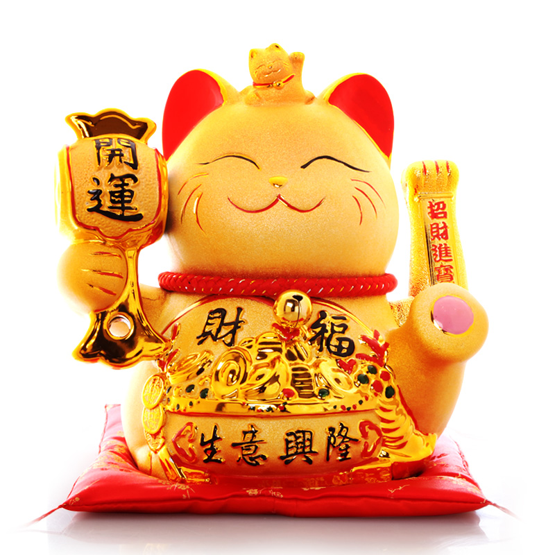 店铺礼品创意金色陶瓷发财猫电动摇手猫 招财猫摆件开业 吉猫堂