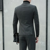 Young men in suits Korean casual self-cultivation double-breasted men's suits business suits British style two-piece suit