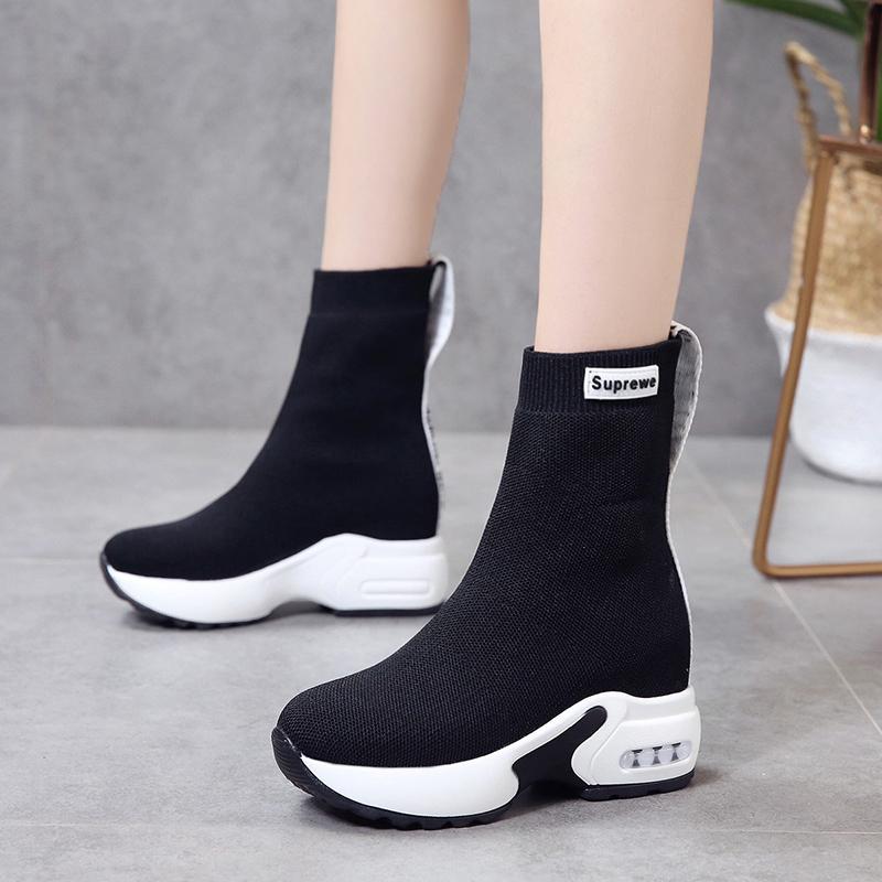 内增高弹力袜子鞋女韩版春秋新款百搭显瘦厚底松糕坡跟透气高帮鞋