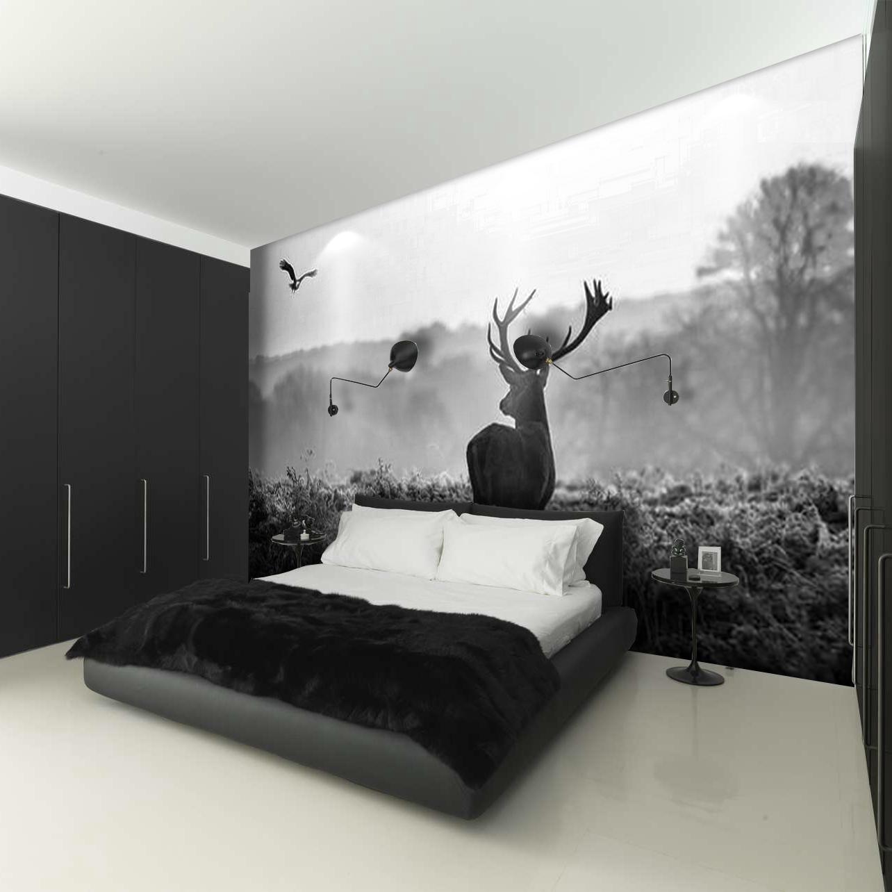 立体北欧麋鹿小鹿黑白灰色森林壁纸树林墙布客厅电视背景墙墙纸 3d