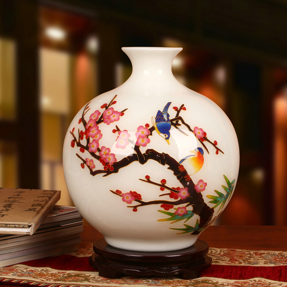 景德鎮陶瓷器 高檔金絲麥稈喜上眉梢白色花瓶 時尚家居工藝品擺件