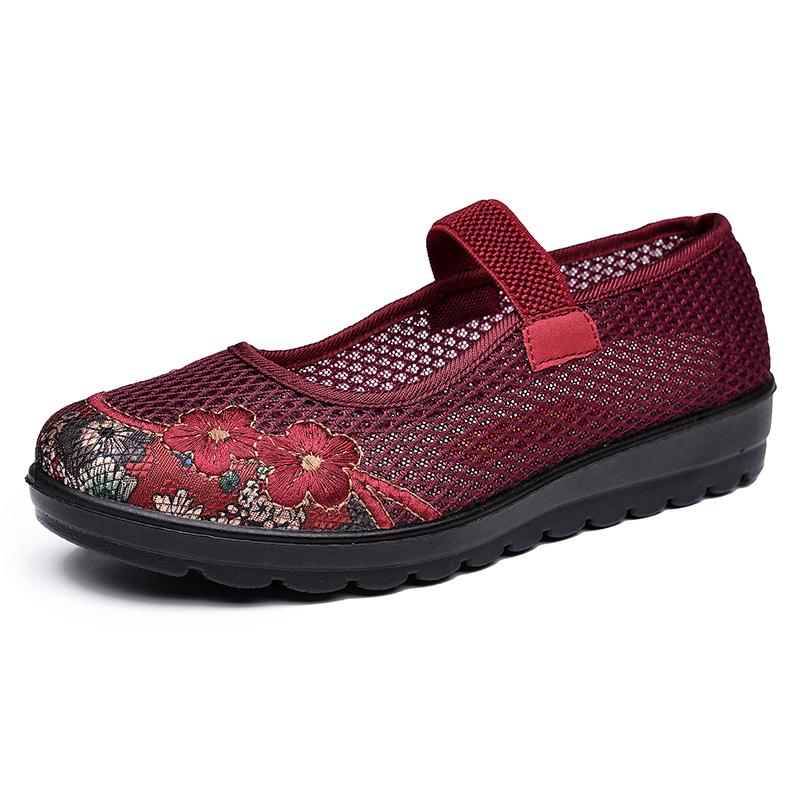 夏季老北京布鞋闰月老人女鞋软底防滑妈妈网鞋中老年大码奶奶单鞋