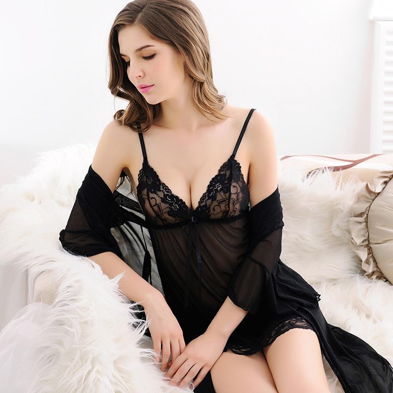 情调衣人夏大码情趣透明睡裙蕾丝薄款性感睡衣女吊带短袖两件套装