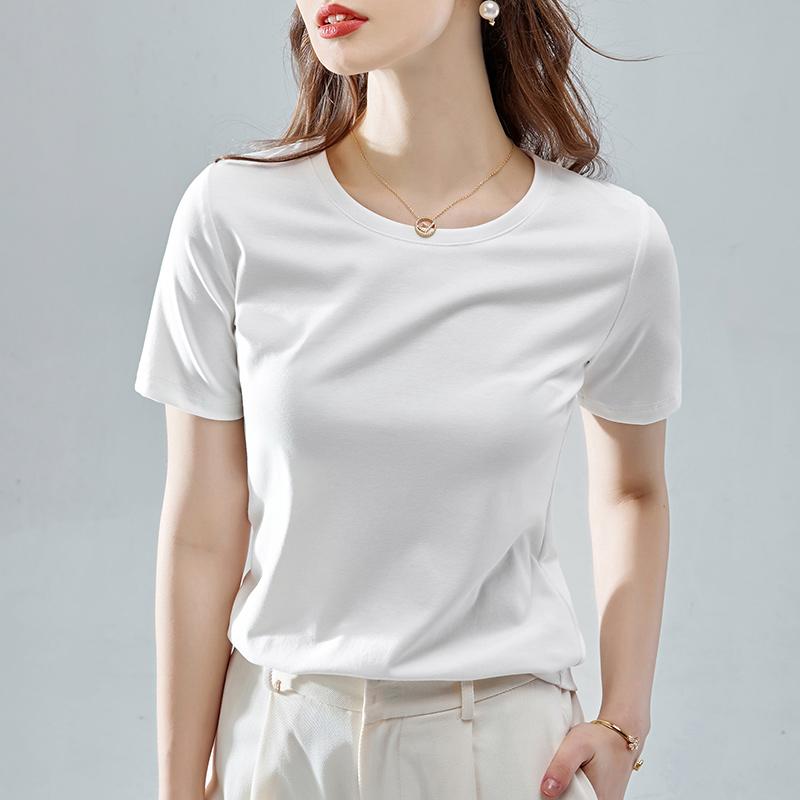 2件78白色t恤女夏季短袖2020年新款黑色宽松大码纯色棉体恤ins潮