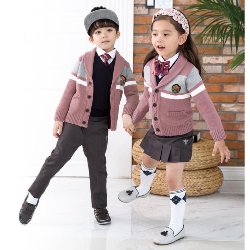 幼儿园园服小学生校服春秋装三件套装紫红色运动会班服英伦风老师