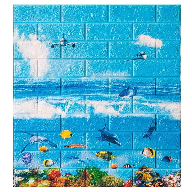 立体墙贴儿童房卧室温馨装饰泡沫砖纹防水防撞软包 3d 墙纸自粘卡通