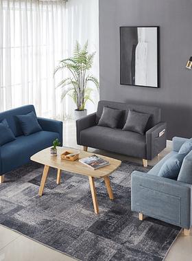 北欧简易双三人店铺沙发椅小户型出租房客厅卧室布艺储物收纳沙发