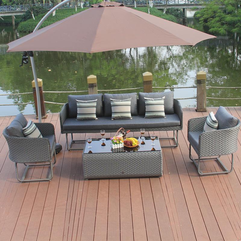 秀雨家具 藤沙发酒店会所花园休闲户外沙发茶几组合单人双