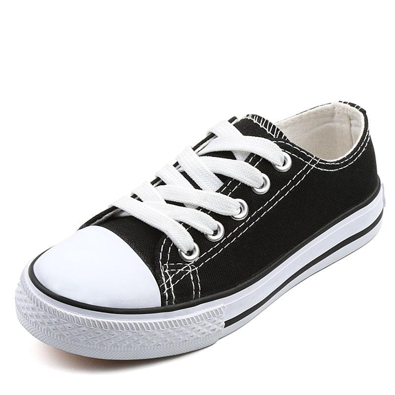 儿童亲子休闲鞋大童低帮帆布鞋男童女童系带黑白布鞋学生平底童鞋