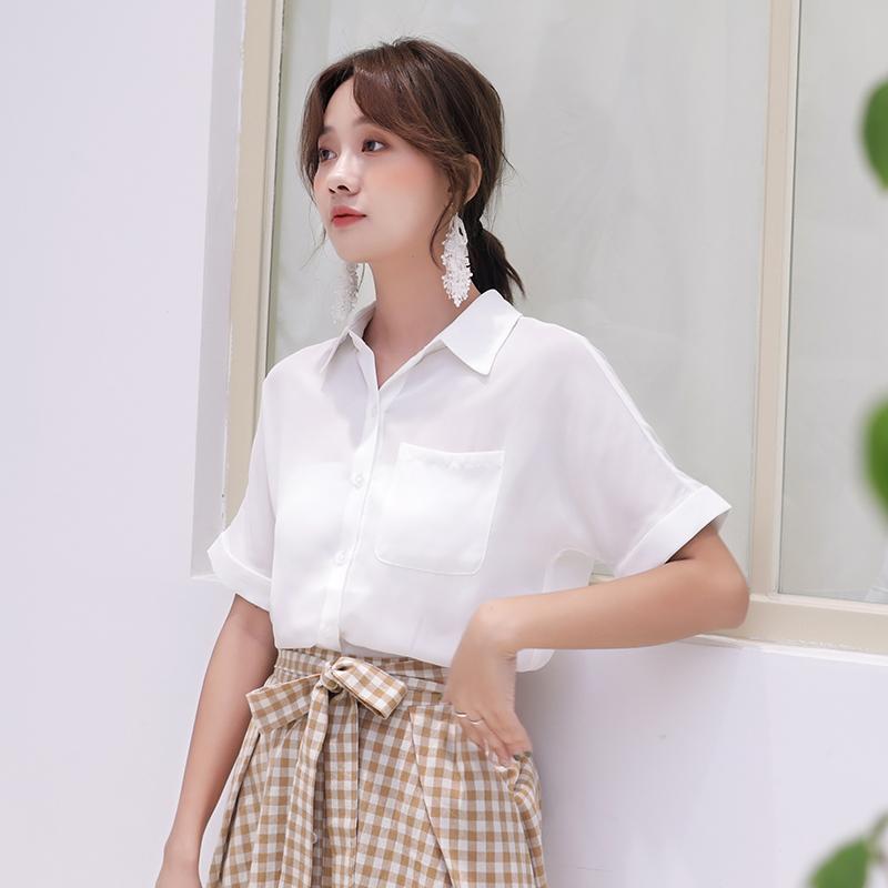 夏2019新款短袖雪纺衬衫女设计感小众韩版职业白衬衣宽松轻熟上衣