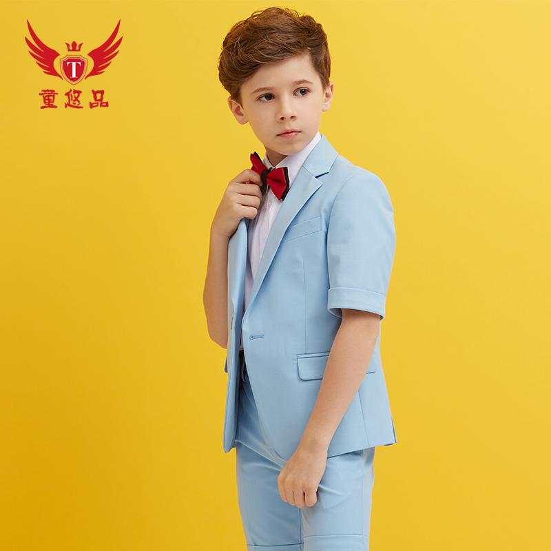 男童礼服夏马甲套装韩版走秀演出服中大童花童礼服男儿童小西装