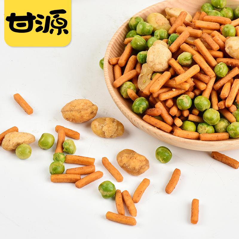 满减【甘源-鲜虾味/烤肉味虾条豆果283g】坚果炒货零食小包装小吃