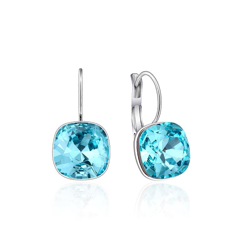 唐后方形水晶耳钉女潮欧美简约冷淡风气质耳环采用施华洛世奇元素