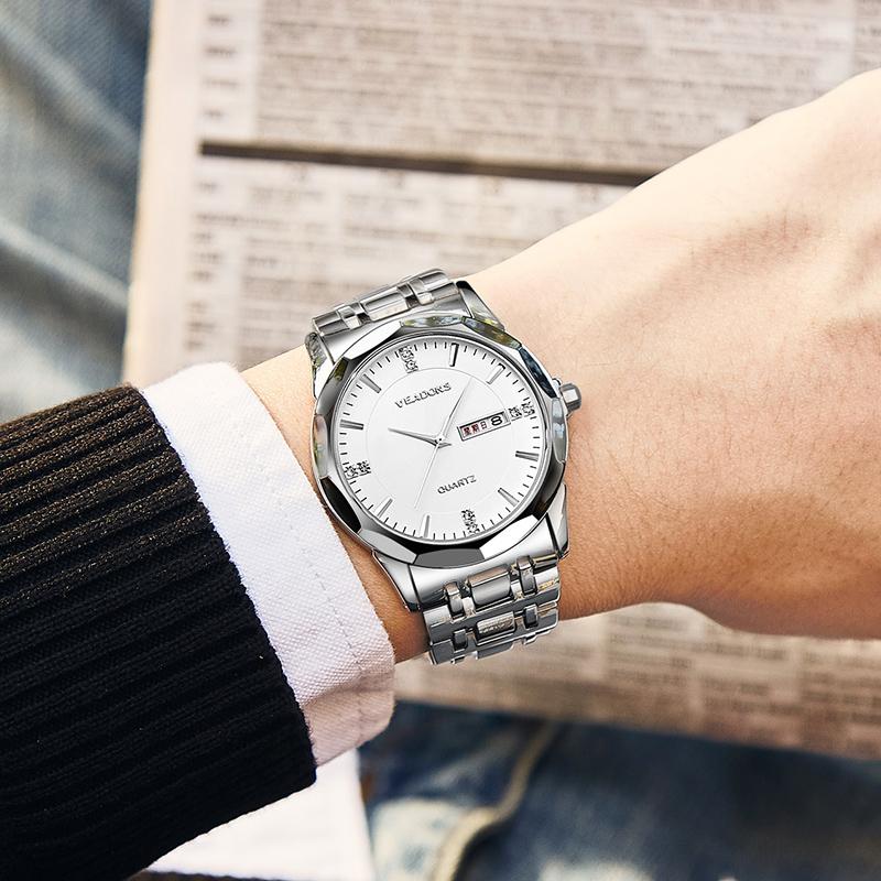 新款威顿情侣手表防水休闲钢带时尚潮流石英表简约男士腕表 2019