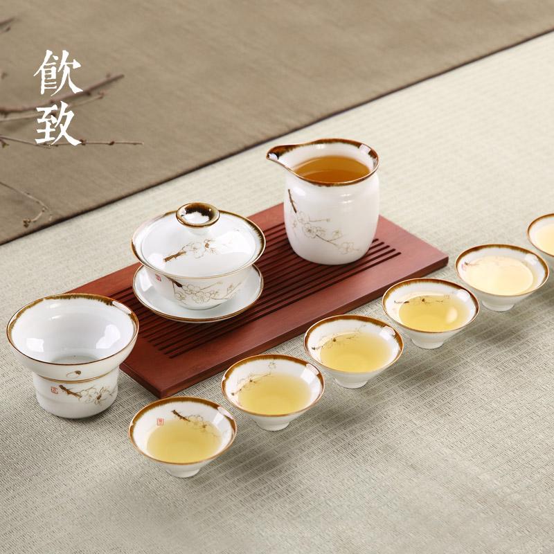 飲致 景德鎮手繪窯變整套茶具套裝家用簡約陶瓷蓋碗茶杯六人套組