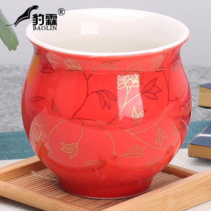 雙層茶杯-紅金葉子  茶具 隔熱茶具 整套陶瓷茶具 茶杯子