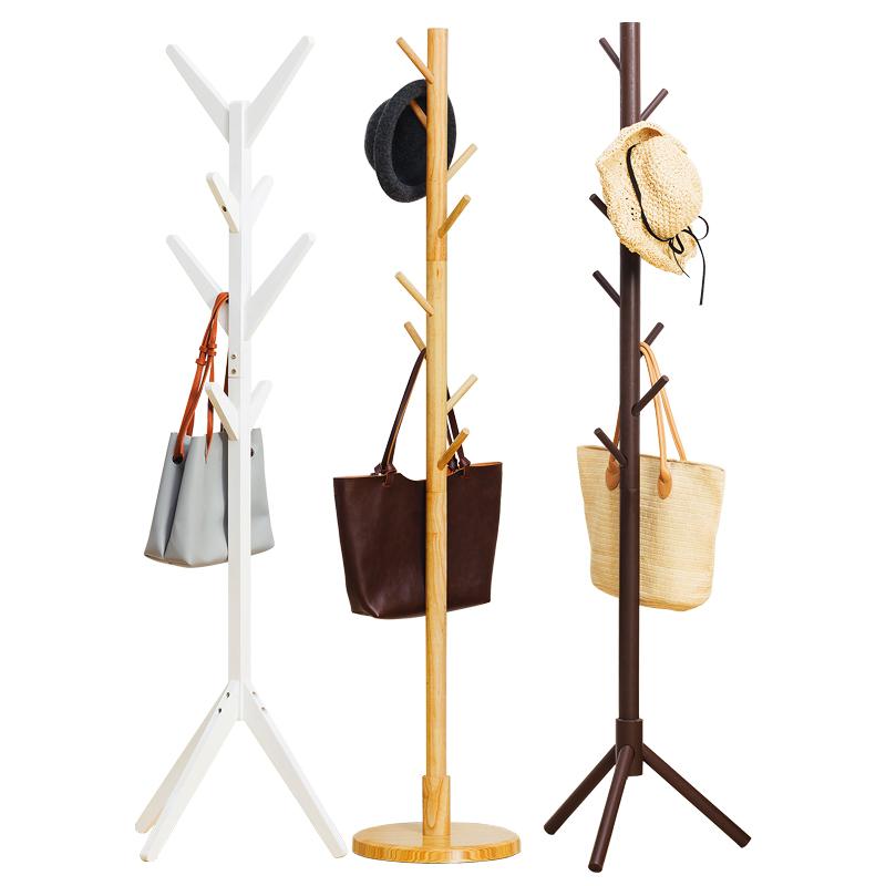 实木衣帽架挂衣架落地卧室柜子简易衣服包置物架家用客厅简约现代