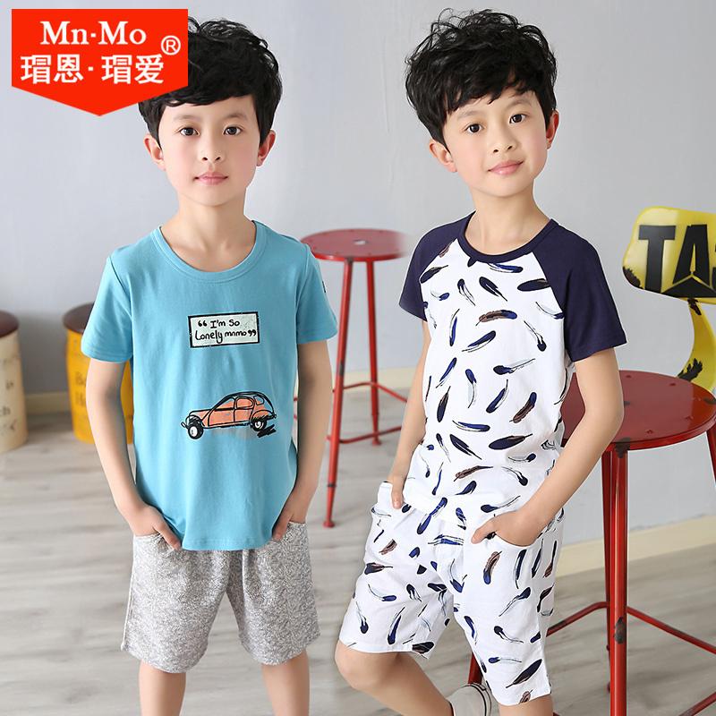瑁恩瑁愛新款夏季薄男童短袖兒童上衣中大童圓領韓版萊卡棉T恤衫