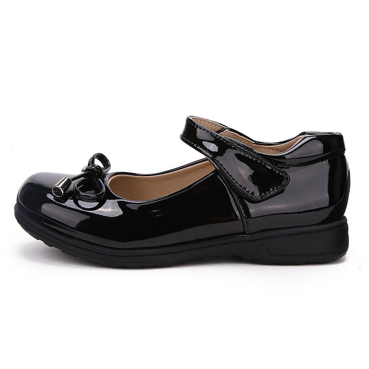 女童皮鞋真皮2019春秋黑白色蝴蝶结皮鞋中大童公主鞋儿童演出单鞋