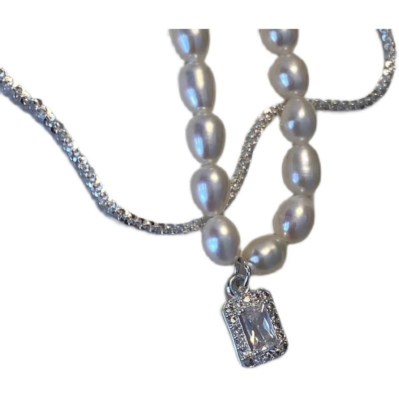 与你手作丨天然珍珠项链女夏复古小众原创 纯银淡水珍珠锁骨链  S925