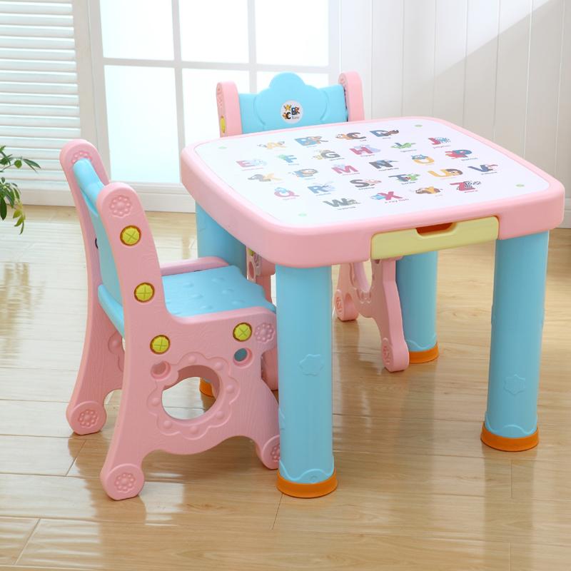 宝宝书桌幼儿学习桌椅套装小孩吃饭桌椅幼儿园游戏塑料课桌椅组合