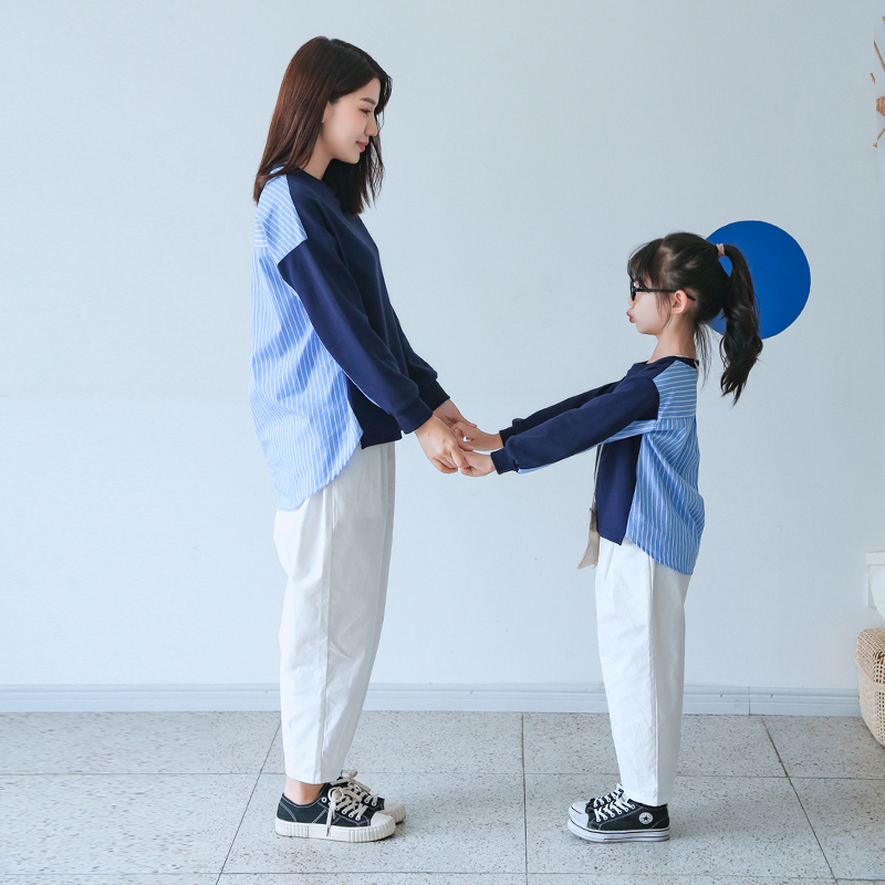 韩版母女装母子纯棉百搭  恤套装 T 2020 秋装新款原创宽松洋气亲子装