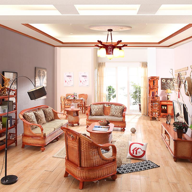 感享家居藤沙发组合客厅五件套休闲真藤藤椅藤艺沙发藤编三人沙发